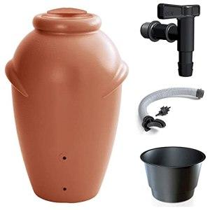 Primegarden Aqua CAN Amphore de pluie 210 litres Réservoir d'eau de pluie Réservoir d'eau de pluie Réservoir d'eau de pluie Réservoir d'eau de pluie avec robinet et raccord (terre cuite)