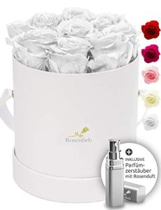 Rosenlieb Boîte de roses avec 9 roses Infinity (durée de vie de 3 ans) – Véritables fleurs préservées – Avec carte de vœux (Medi Bella blanc, blanc)