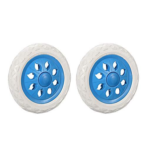 Sourcingmap Lot de 2 roulettes de rechange en caoutchouc moussant Bleu clair 6,5 cm
