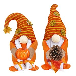Thanksgiving Gnome Doll Plush Faceless Doll with Maple leaves Pine Cone Pumpkin 2PCS