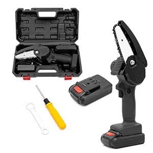 Tronçonneuse Portative à Batterie, Mini Tronçonneuse à une Main 4 Pouces 21V Tronconneuse Electrique Avec Piles et Verrou de Sécurité,Noir,AU