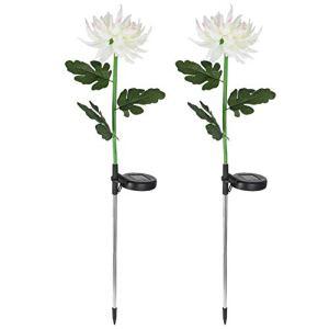 Uonlytech Lot de 2 lampes solaires à LED – Motif chrysanthème – Pour extérieur – Pour jardin, pelouse, lit, cour – Blanc