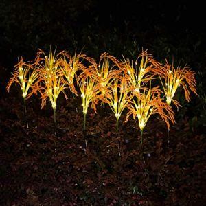 Uonlytech Lot de 2 lampes solaires de blé – Pour l'extérieur – Décoration de jardin