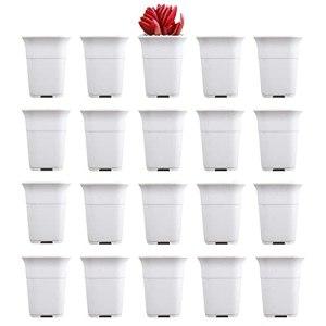 UPTALY Lot de 20 pots surélevés pour pépinière(blanc, 15,2 cm x 12 cm), pot de semis carré en résine PP épaisse, pot de plantation de pépinière, pot de semis en plastique, récipient de transplantation