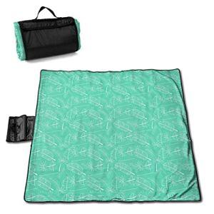 VimcustomPr Arrislife Tapis de pique-nique imperméable en polyester extra large avec dos imperméable pour l'extérieur, feuilles et plumes transparentes sur fond vert