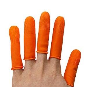 XD7 Lot de 12 protège-doigts réutilisables, environ 90 à 100 bouts de doigts en caoutchouc, gants de pistolet à colle chaude, coussinets pour compter, coller, couture, cire
