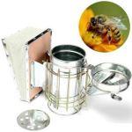 ZXJOY Fumoir pour ruche d'abeilles en acier inoxydable – Outil d'apiculture avec bouclier thermique (fumeur d'abeilles)
