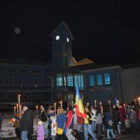 Defilare cu torțe, la Vulcan, în seara de 24 Ianuarie