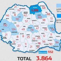 HARTA pe județe a cazurilor de imbolnăviri cu COVID-19, la nivel național: Care sunt cele mai afectate zone