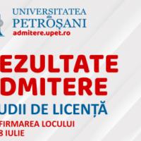 Rezultatele admiterii la studiile de licență de la Universitatea din Petroșani au fost publicate