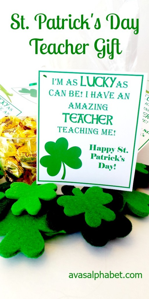 St. Patrick's Day Teacher Gift with Printable Tag