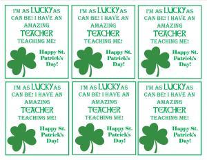 St Patrick's Day Teacher Gift Printable Tag