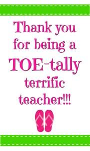 TOEtally Terrific teacher tag in green