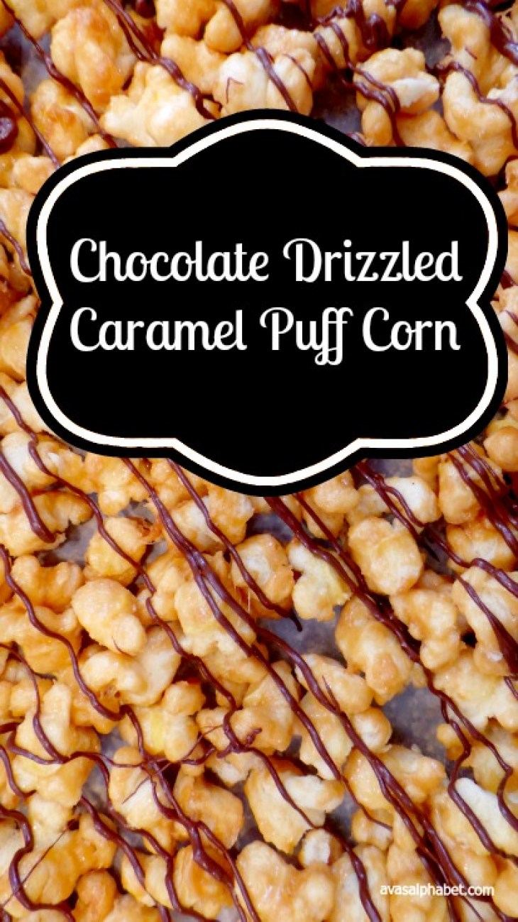 Chocolate Drizzled Caramel Puff Corn