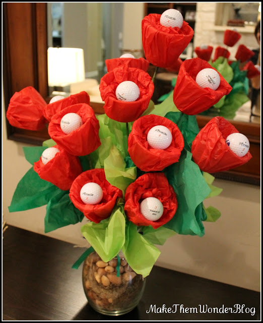 Golf Ball Flower Arrangement