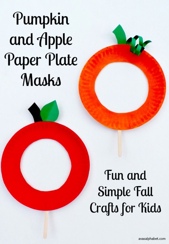 Paper plate pumpkin and apple masks