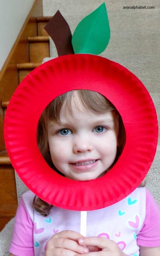Paper Plate Pumpkin and Apple Masks