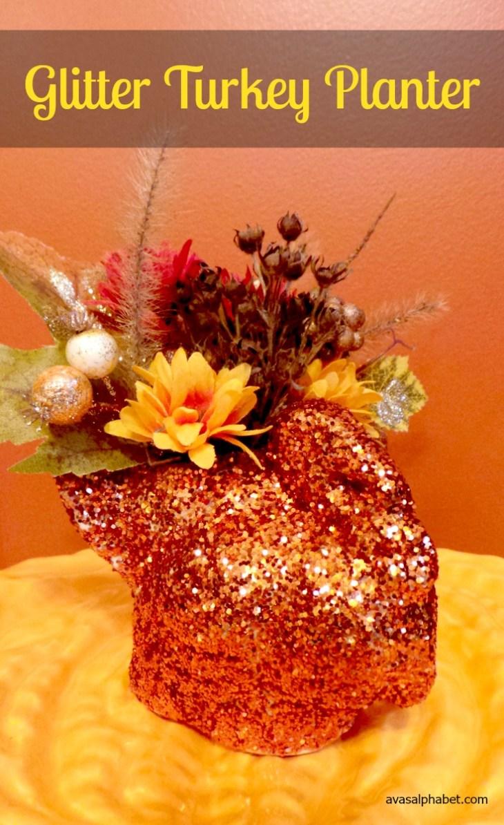 Glitter Turkey Planter
