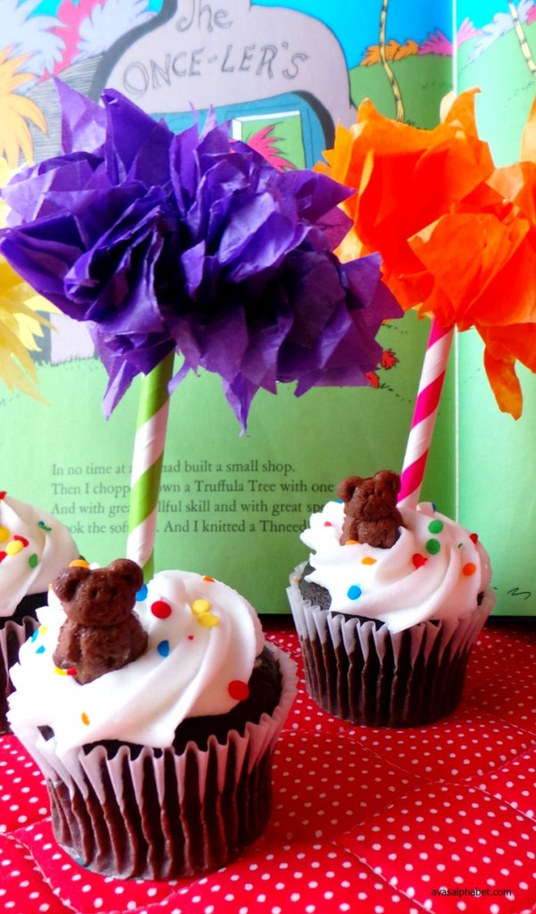 Dr Seuss Inspired Truffula Tree Cupcake Toppers from Ava's Alphabet