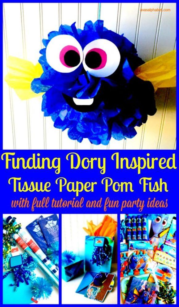 Finding Dory Inspired Tissue Paper Pom Fish from Ava's Alphabet