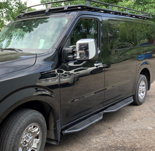 Nissan NV3500 side step no drop with roof rack