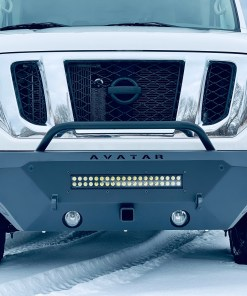 Nissan NV 3500 single jack front bumper with tow hitch front view