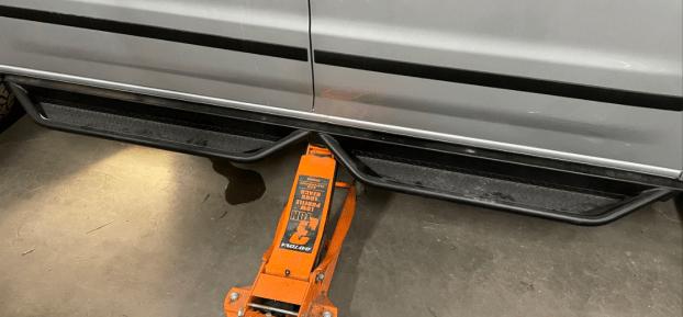 installing Avatar side steps on a Nissan NV 3500