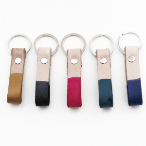 Dip Dye Leather Keychain