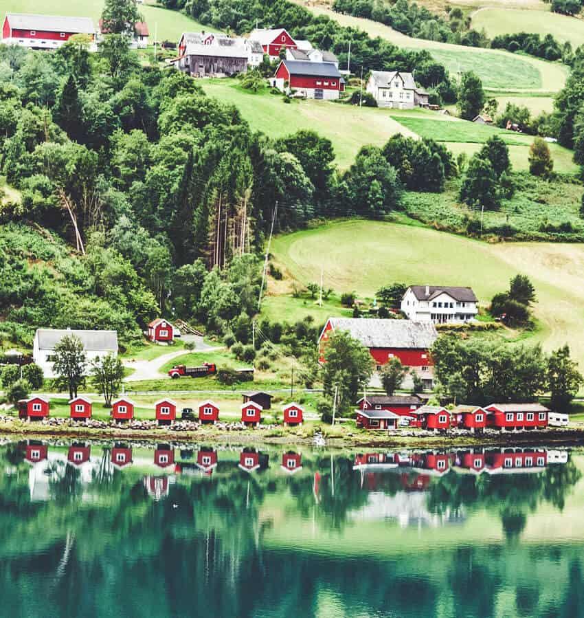 Norwegian fjords in sea port Olden, Norway