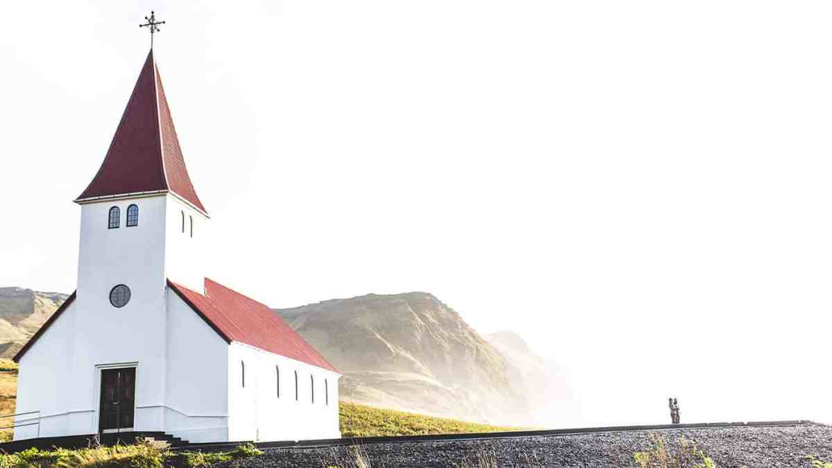 Vik i Mydral church on a hill in Vik Iceland.