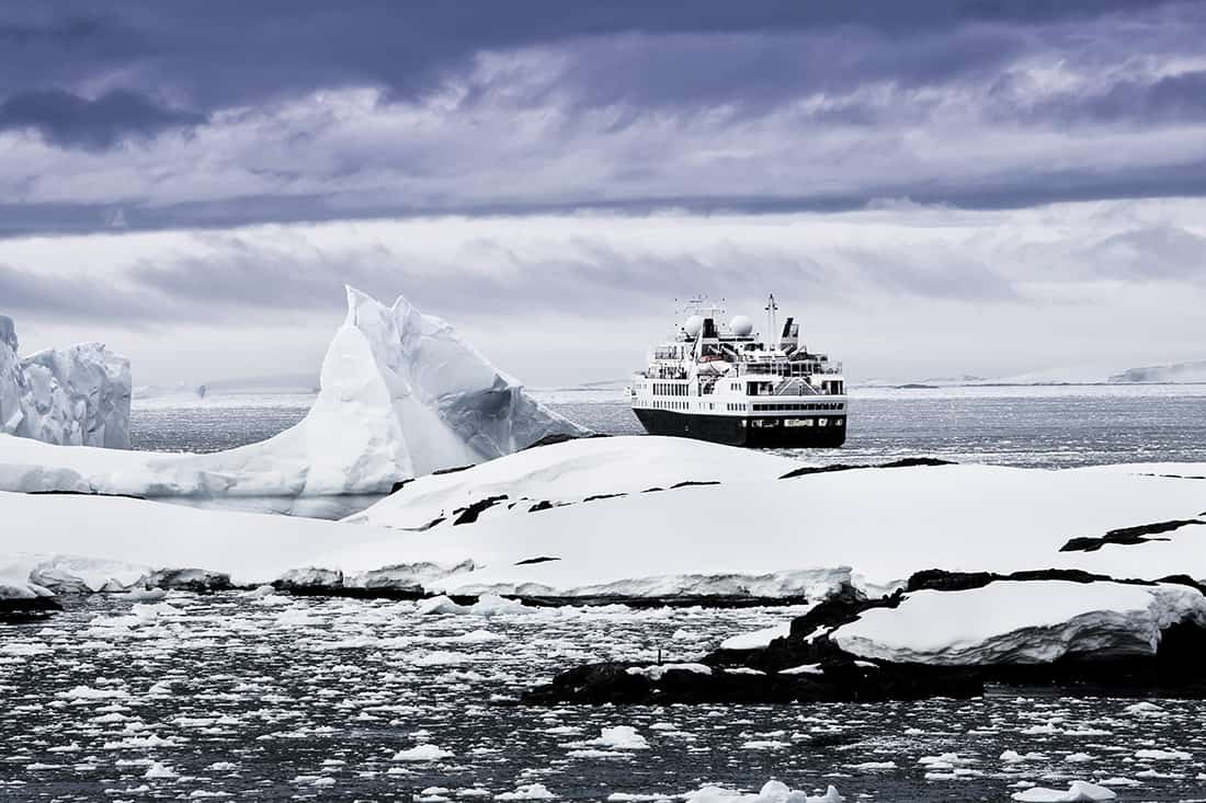 Big cruise ship in the Antarctic waters