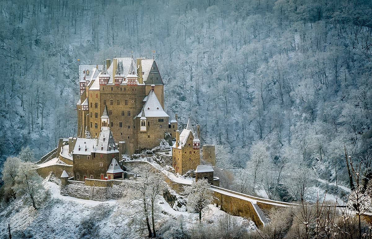 Winter shot of German castle Burg Eltz