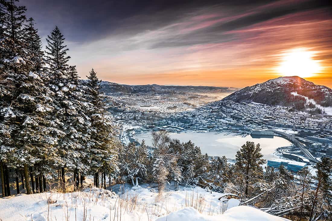 Sunset on the mountain top in Bergen. Norway
