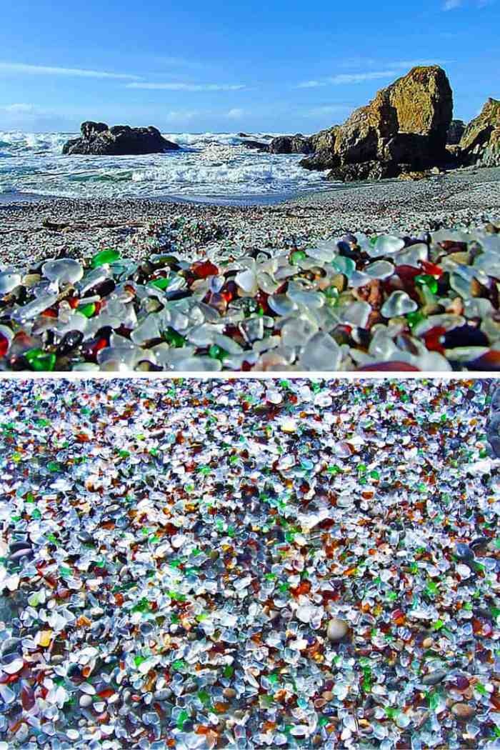 Glass Beach, Fort Bragg California. Ever been to a beach with giant ice cubes all over? Or what about a reandom hole in the ground that opens up into a beautiful beach! Click through to see 15 more of the world's most unique & awesome beaches!