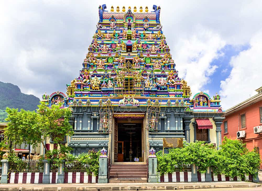 Hindu Temple in the Seychelles Islands off the coast of Africa! Click through to read a complete Seychelles Travel Guide! #Seychelles #beaches #islands