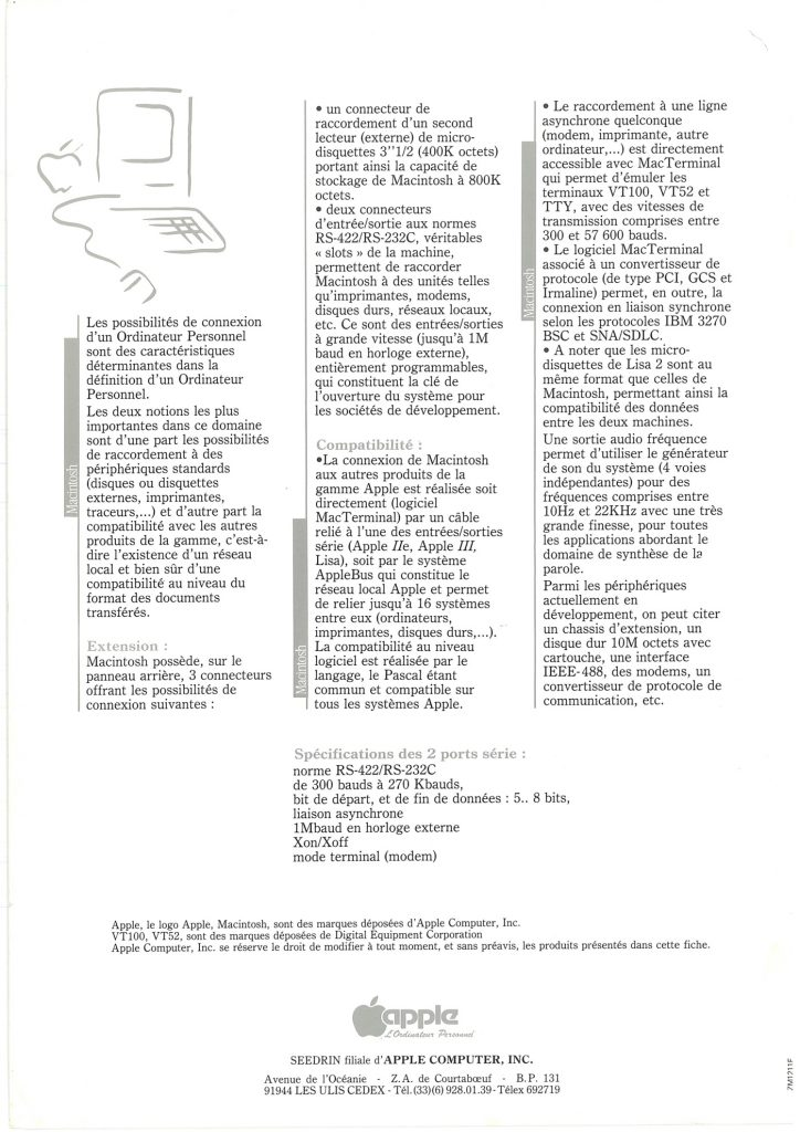 Brochure Macintosh SEEDRIN : les extensions et la compatibilité