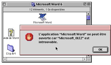 Blocage du démarrage de Word 6 faute d'extension Microsoft_OLE2