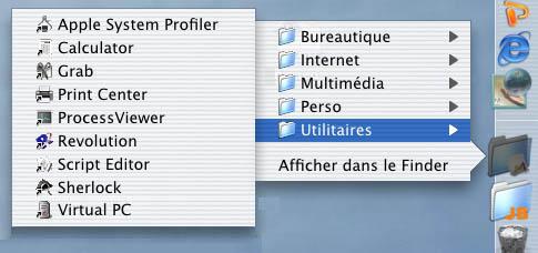 Raccourcis dans le Dock de Mac OS X