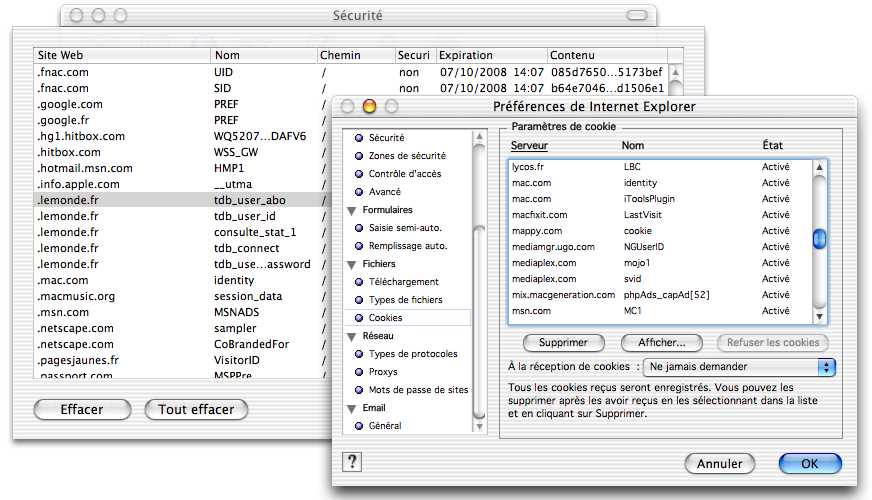 Cookies on Macintosh Internet Explorer 5 Macintosh