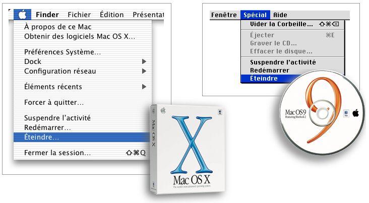 Menu éteindre de Mac OS 9 et MacOS X