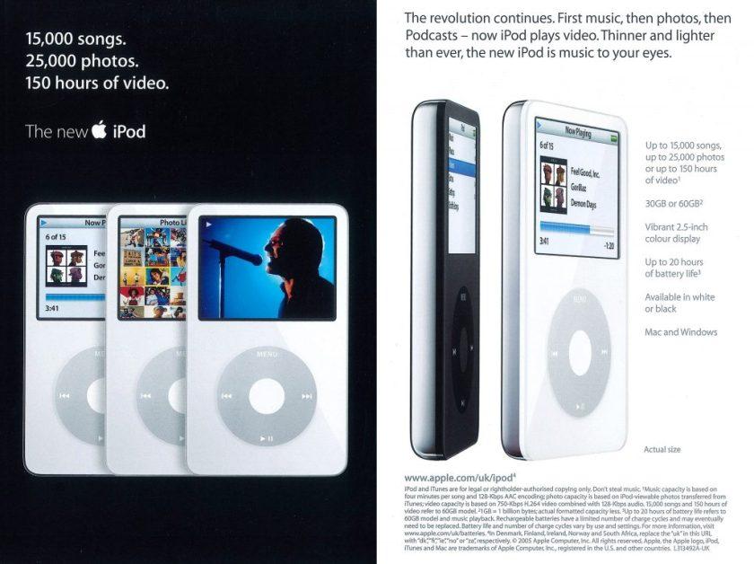 Apple 2005 brochure iPod 5G
