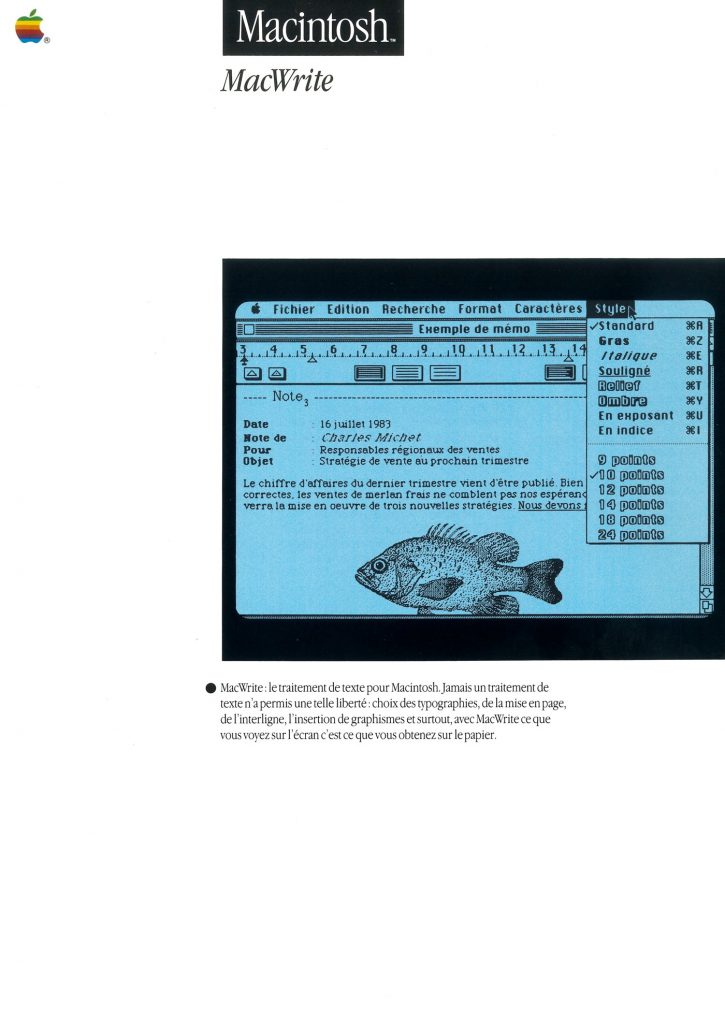 MacWrite brochure par Apple France SEEDRIN