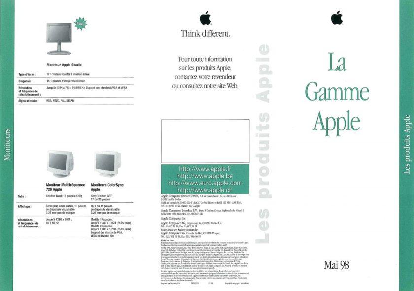 La gamme Apple en Mai 1998 : avec l'Apple Studio Display !