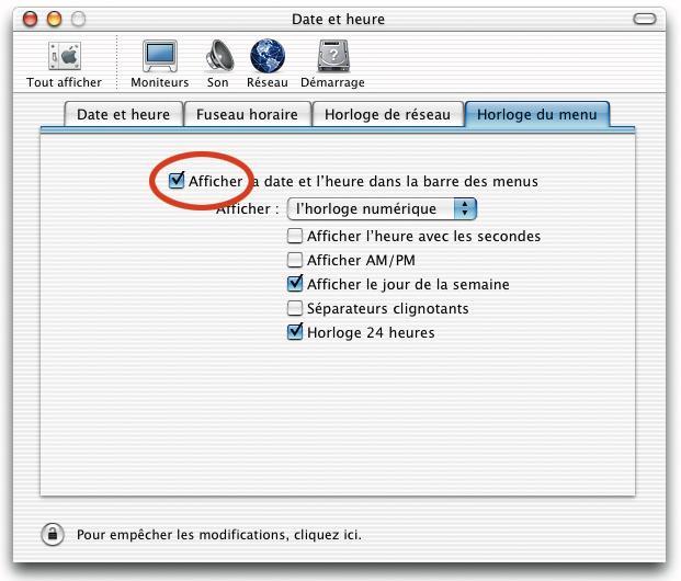 Préférences Date et Heure, MacOS X 10.0