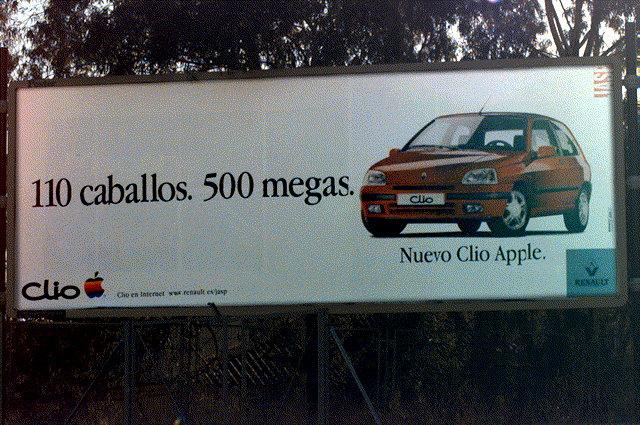 Publicité Apple Renault Clio 100 Caballos, 500 megas