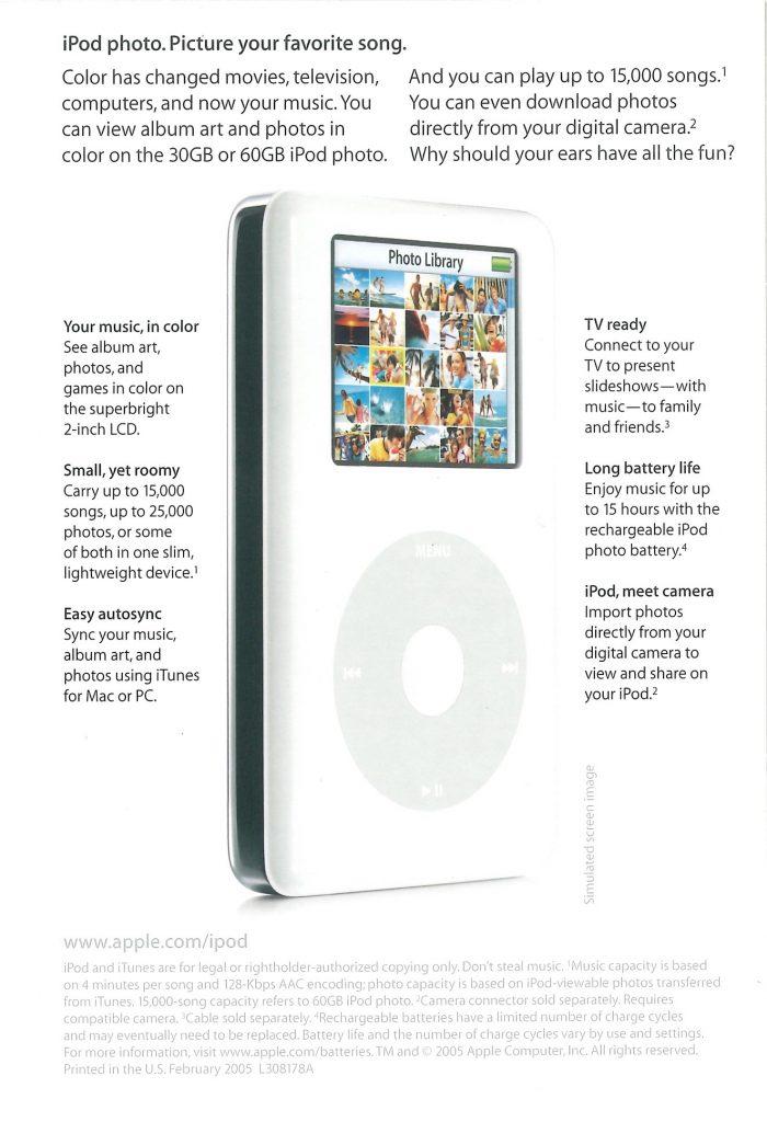 Brochure iPod Photo 4G 2004 Apple