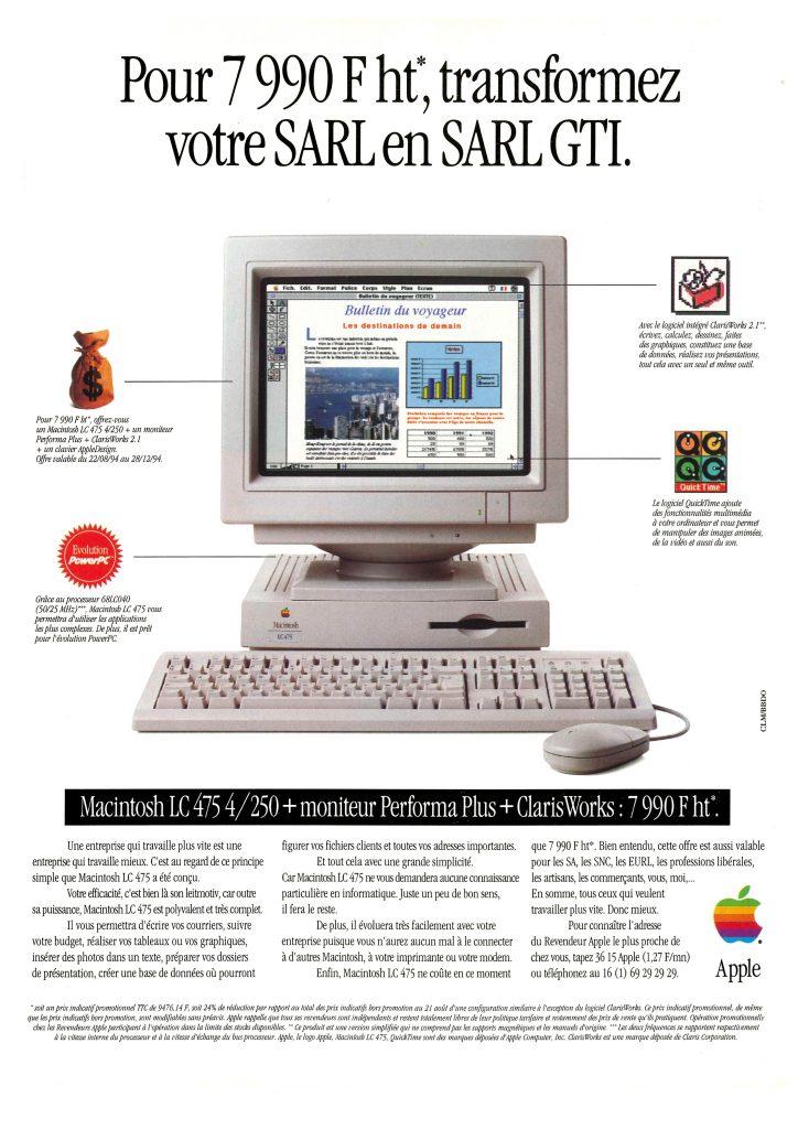 Publicité Apple LC 475 SARL GTI