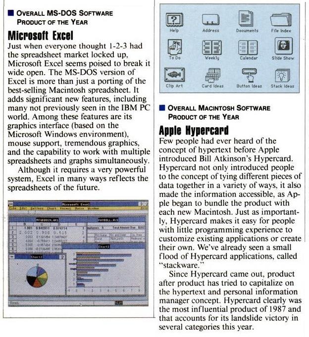 1987 InfoWorld Hypercard et Excel