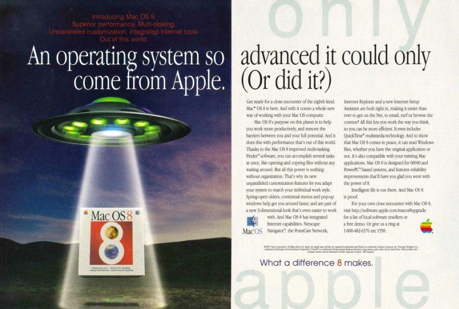 Publicité Mac OS 8 ovni UFO