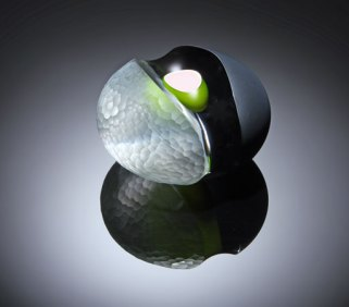 """Carved 2010/02"", Cased Glass, hollow inner, green over white. 160 Ø x 100. Overlaid with black, partially removed. Deep Carved, battuto surface finish."